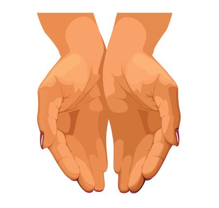 handful: Womens hands are connected together Illustration