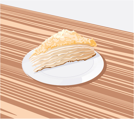 is a piece of cake on a white saucer Vector