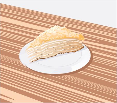 gateau: � un pezzo di torta su un piattino bianco