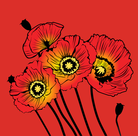 postcard with red poppies on a red background