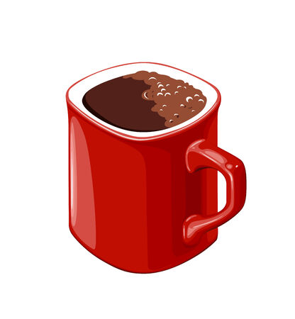 red cup of coffee on a white background Vector