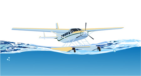 jorney: seaplane on the sea Illustration