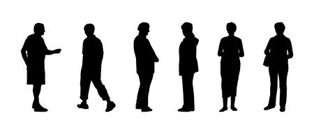 elderly people: silhouettes of elderly people Illustration