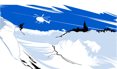 skier goes down from snowy mountain peaks Vector