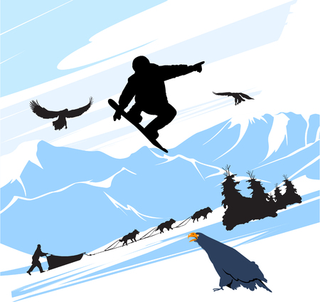 Snowboard man jump on the mountains background