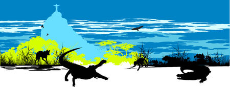 steppe: Wild crocodiles, hyena and monkey on the blue sky background  in Rio Illustration