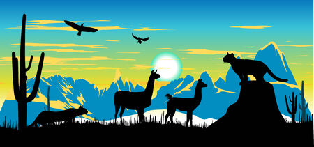 somewhere: Panther, llama and eagles in the sky somewhere in Argentina Illustration