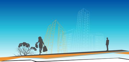 citylife: woman with shopping bags coming home Illustration