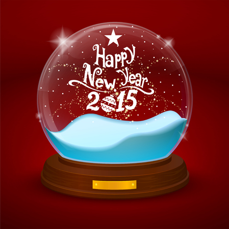 statuette: glass bowl statuette with new year Illustration