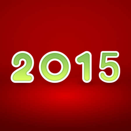 figur: 2015 New Year image on red background with white and green figur Illustration