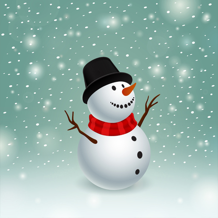Beauty snowman and low snowstorm