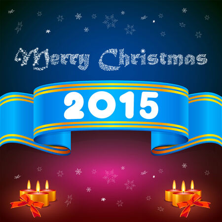 inkle: Blue ribbon 2014, Christmas background and candles Illustration