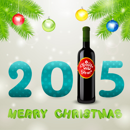 Christmas background, bottle of wine and balls Vector