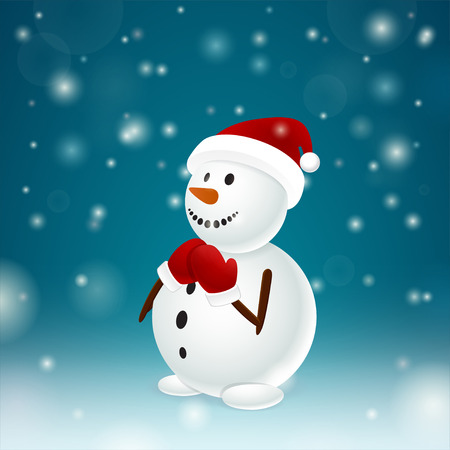 mittens: Funny snowman with red mittens Illustration