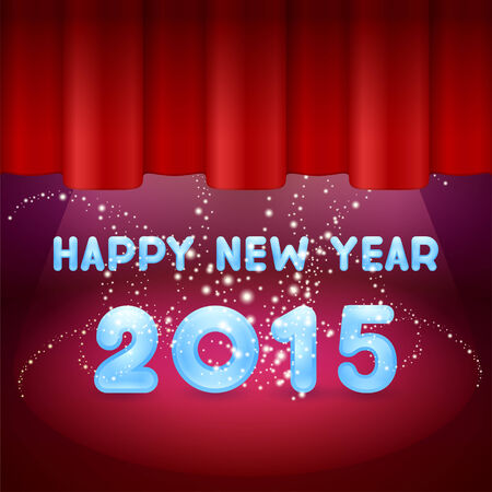 Magic Happy New Year on stage 2015 and red background
