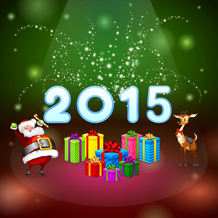 christmas deer: Santa Claus and Christmas deer, many gifts