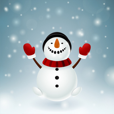 mittens: Smiley snowman with red mittens