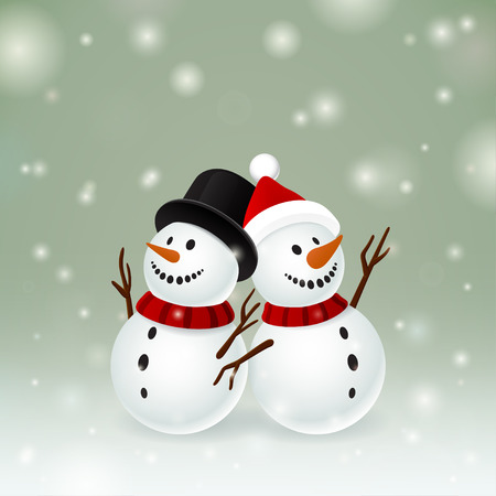 snowman hat: Two smiley snowman on dark background and snow