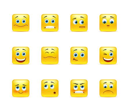 Emoticonos vector hermosa en amarillo forma cuadrada Foto de archivo - 37144031