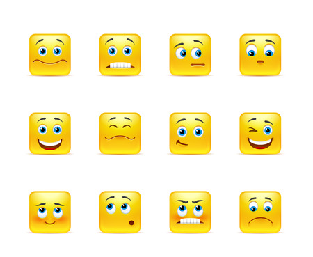 Beautiful vector smileys in yellow square shape