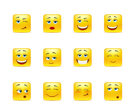 smile happy: Twelve stylish and emotional square smiley in yellow Illustration