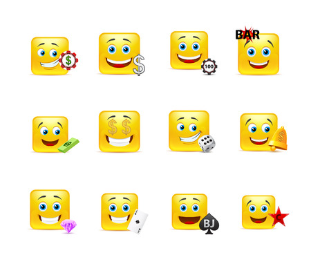 smiley face cartoon: Set of yellow square smiles on gambling themes Illustration