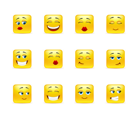 uncomfortable: Set beautiful funny smiles in yellow square shape