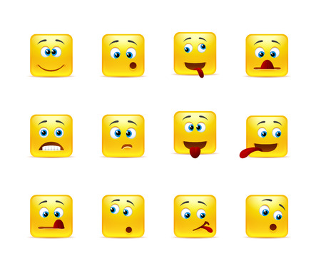 round face: Set of twelve square crazy smiley in yellow