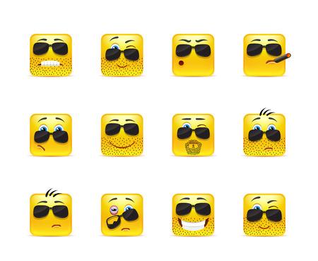 smiley: Set of twelve square smiley in yellow