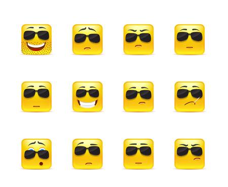 caras graciosas: Conjunto de doce smiley cuadrado en amarillo