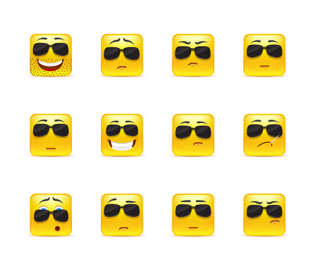 character set: Set of twelve square smiley in yellow