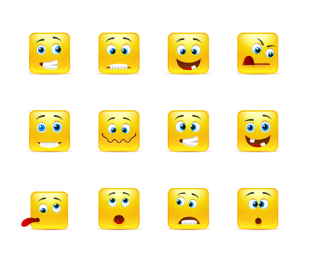 cara triste: Conjunto de smiley amarillos cuadrado de doce piezas