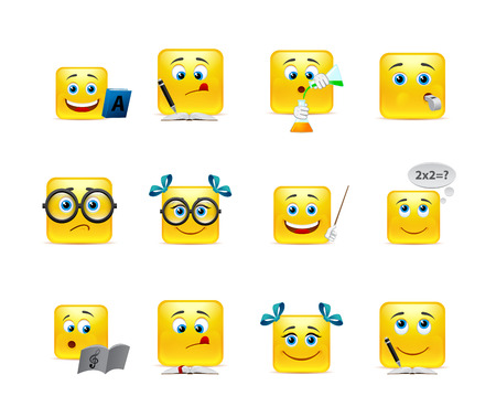 good humor: Vector set of emoticons for students