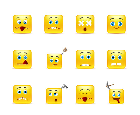 Set of twelve square funny smiley in yellow Vector