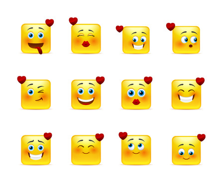smily: Lovely set square love smileys in yellow Illustration
