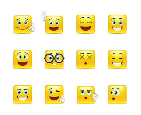 smily face: Twelve stylish and emotional square smiley in yellow Illustration