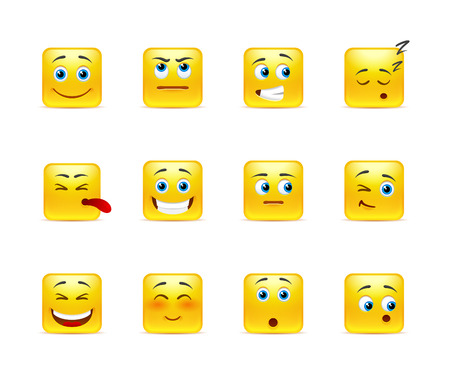 emoticons: Twelve stylish and emotional square smiley in yellow Illustration