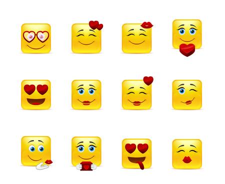 cara sonriente: Establecer emoticonos belleza Valent�n en el amor