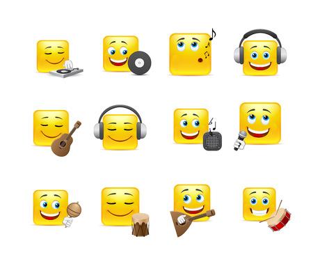 smileys: Set of yellow smileys music square of twelve pieces