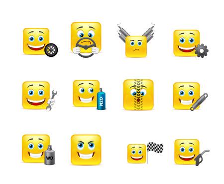 Set of yellow smileys square of twelve pieces on automotive topics Vector