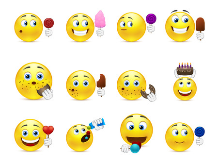 Cute emoticons with different sweet snacks in hand and not only