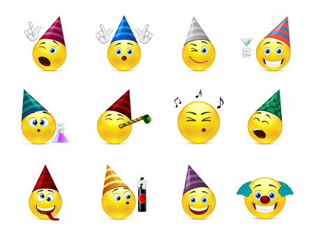 Funny smileys in caps for the holiday birthday