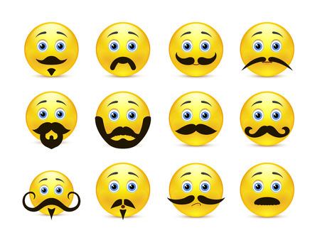 carita feliz caricatura: Conjunto de sonrisas hermosas y valientes de color amarillo con una barba y bigote