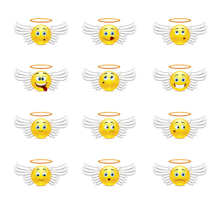 Smiley Pack angels with wings and a halo over his head with different emotions Vector