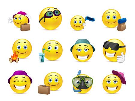 cara sonriente: Conjunto de smiley amarillos son enviados a los viajes de vacaciones de verano