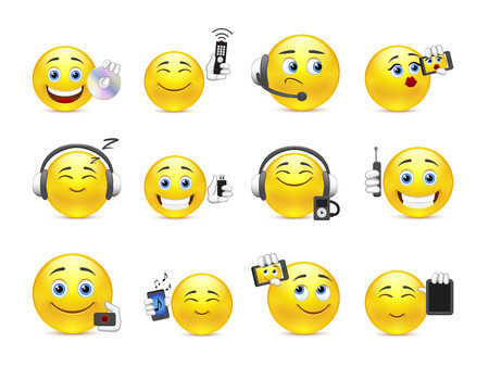 smiley face cartoon: Set of yellow smiles with different gadgets