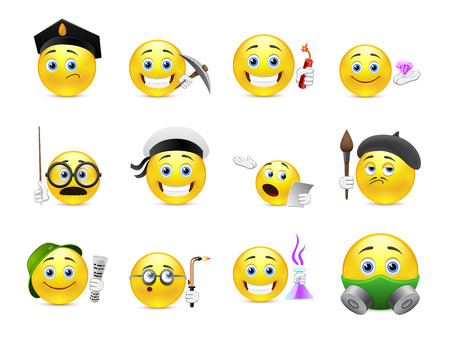 Set of cool yellow smiley face different professions Illustration