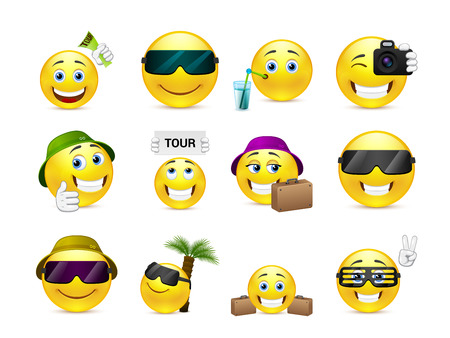 smiley face cartoon: Set of yellow smileys are sent to summer vacation travel