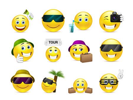Set von gelben Smileys sind Sommerferien Reise geschickt