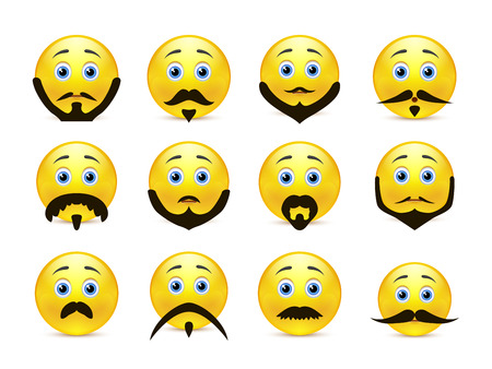 grownup: Set of beautiful and brave smiles yellow with a beard and mustache Illustration